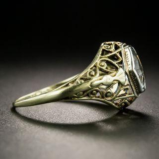 Antique Aquamarine Filigree Ring