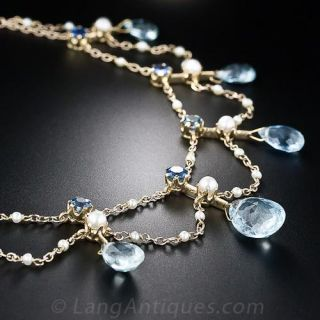Antique Aquamarine, Sapphire and Pearl Necklace - 3