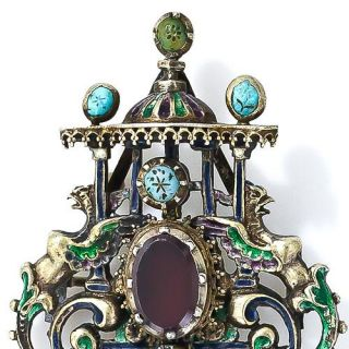 Antique Austro-Hungarian Silver, Garnet, Turquoise and Enamel Brooch