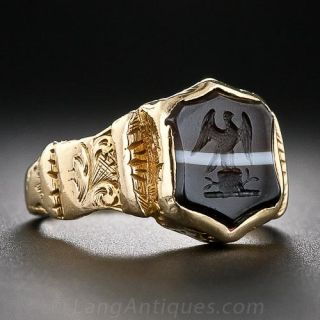 Antique Banded Agate Intaglio Ring