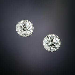 Antique Bezel-Set Diamond Stud Earrings