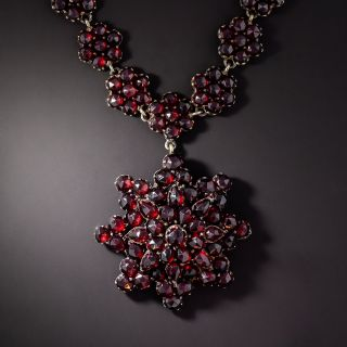 Antique Bohemian Garnet Necklace with Flower Pendant - 1