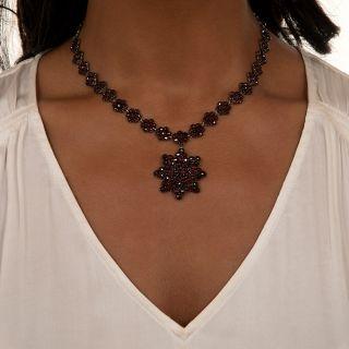 Antique Bohemian Garnet Necklace with Flower Pendant