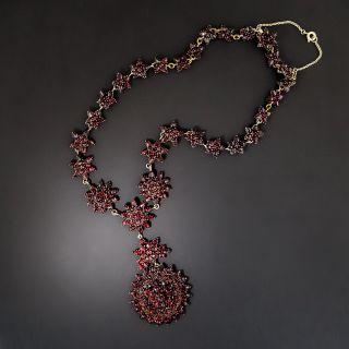 Antique Bohemian Garnet Pendant Necklace - 2