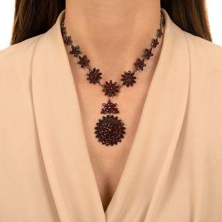 Antique Bohemian Garnet Pendant Necklace