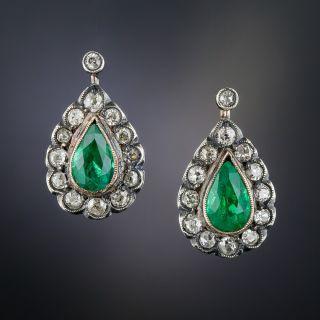 Antique Brazilian Emerald and Diamond Earrings - 1