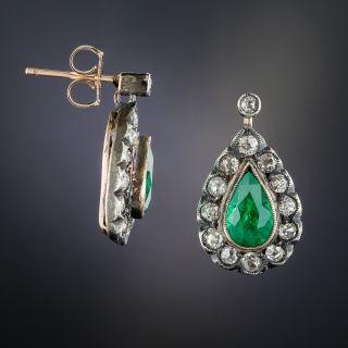 Antique Brazilian Emerald and Diamond Earrings