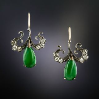 Antique Burmese Jade and Diamond Drop Earrings - 1