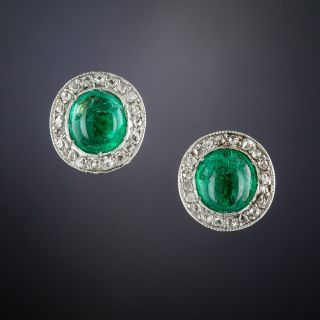Antique Cabochon Emerald and Diamond Stud Earrings - 1
