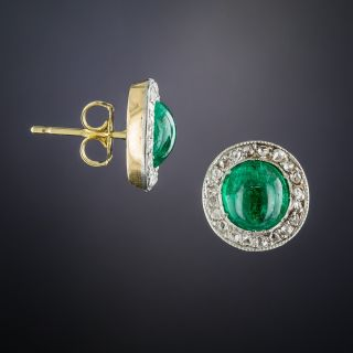 Antique Cabochon Emerald and Diamond Stud Earrings