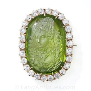 Antique Carved  Peridot Cameo and Diamond Brooch Pendant - 1