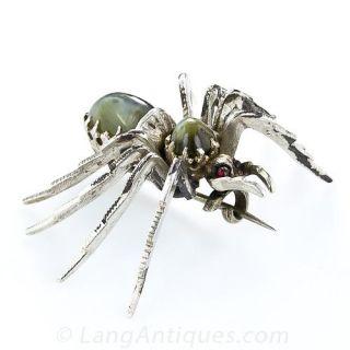 Antique Cat's Eye Spider Brooch