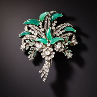 Antique Chrysoprase and Diamond Brooch - 1