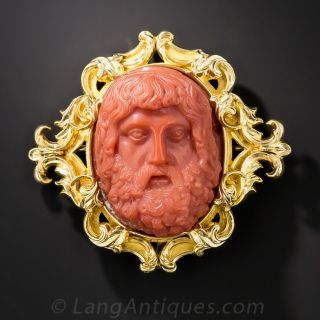 Antique Coral Cameo of Zeus