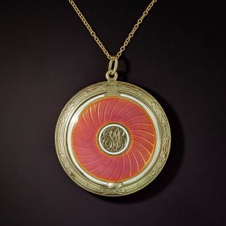 Antique Coral Colored Enamel Locket Pendant by Carter and Gough - 0