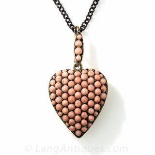 Antique Silver Coral Heart Locket Necklace