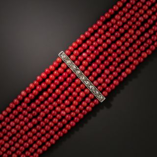Antique Coral Strand and Diamond Bracelet - 3