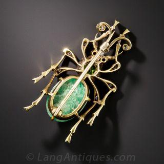 Antique Demantoid and Diamond Beetle Brooch