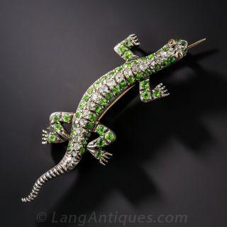 Antique Demantoid and Diamond Salamander Brooch Silver  - 1