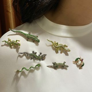 Antique Demantoid and Diamond Salamander Brooch Silver