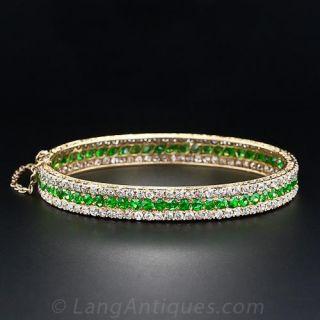 Antique Demantoid Garnet and Diamond Bangle Bracelet
