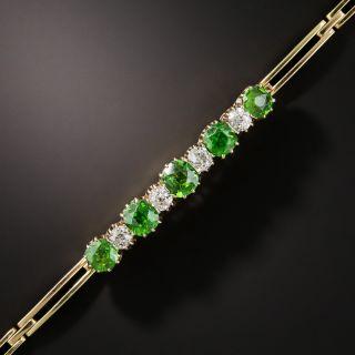 Antique Demantoid Garnet and Diamond Bracelet