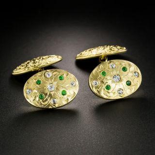 Antique Demantoid Garnet and Diamond Cufflinks - 2