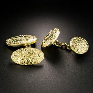 Antique Demantoid Garnet and Diamond Cufflinks