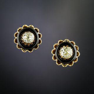 Antique Black Enamel and Diamond Earrings - 2
