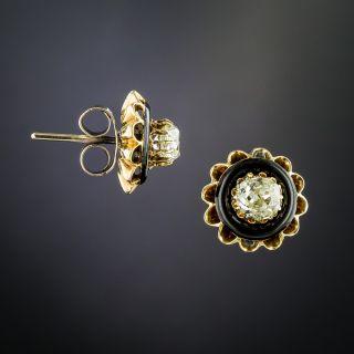 Antique Diamond and Black Enamel Stud Earrings