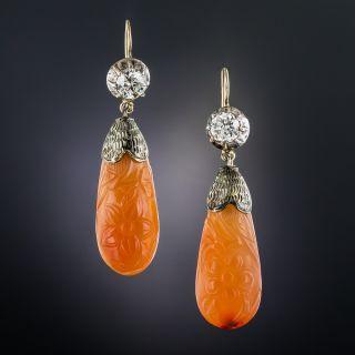 Antique Diamond and Carnelian Dangle Earrings - 1