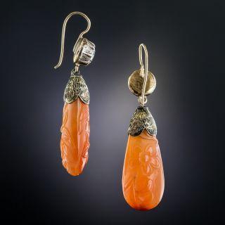 Antique Diamond and Carnelian Dangle Earrings