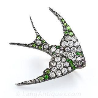 Antique Diamond and Demantoid Garnet Swallow Brooch - 1