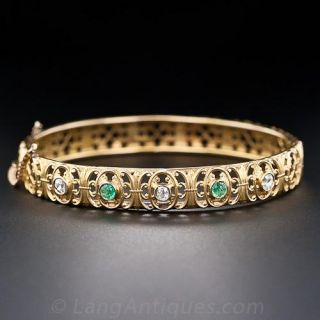 Antique Diamond and Emerald Bangle