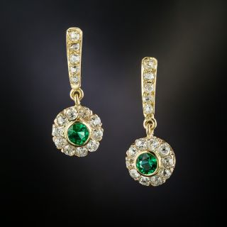 Antique Diamond and Emerald Drop Earrings - 3
