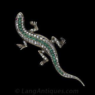 Antique Diamond and Emerald Salamander Pin