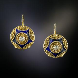 Antique Diamond and Enamel Cannetille Earrings - 3
