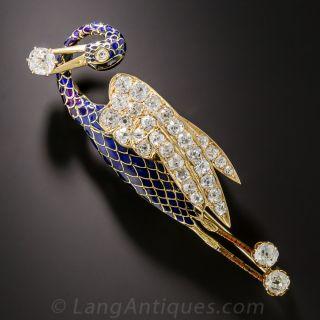 Antique Diamond and Enamel Crane Brooch
