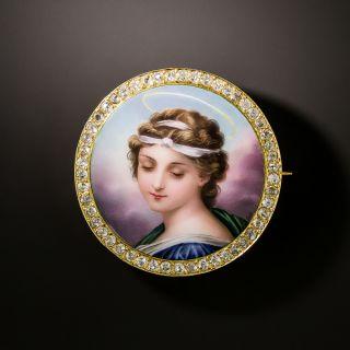Antique Diamond and Enamel Portrait Brooch - 3