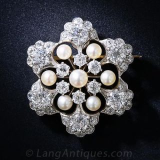 Antique Diamond and Natural Pearl Snowflake Brooch and Pendant - 1