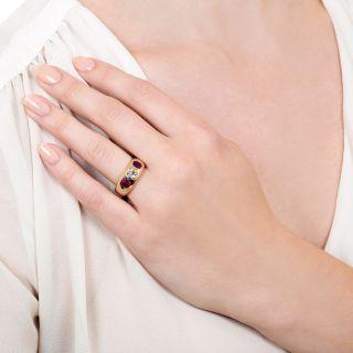 Antique Diamond and No-Heat Burmese Ruby Three-Stone Ring by T.B. Starr