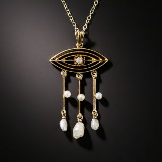 Antique Diamond and Pearl Fringe Pendant, Circa 1900 - 2
