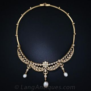 Antique Diamond and Pearl Necklace