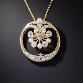 Antique Diamond and Pearl Wreath Necklace - 1