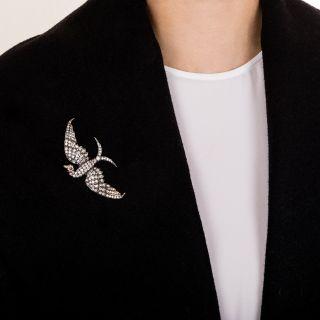 Antique Diamond Bird in Flight Brooch