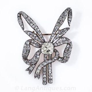 Antique Diamond Bow Brooch