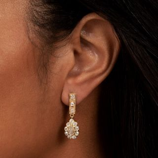Antique Diamond Cluster Dangle Earrings