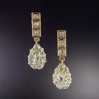 Antique Diamond Cluster Dangle Earrings - 1