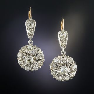 Antique Diamond Cluster Dangle Earrings - 2
