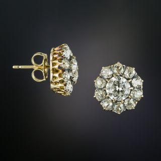 Antique Diamond Cluster Stud Earrings - 2